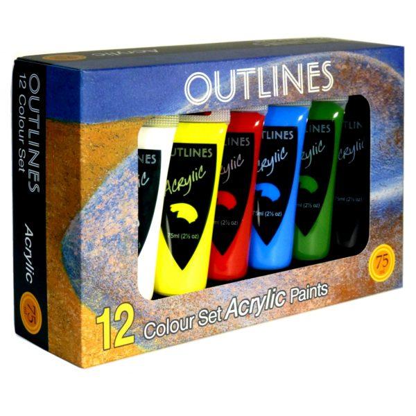 Acrylic paint set, 12 colours