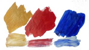dabs yellow-ochre, crimson, ultramarine