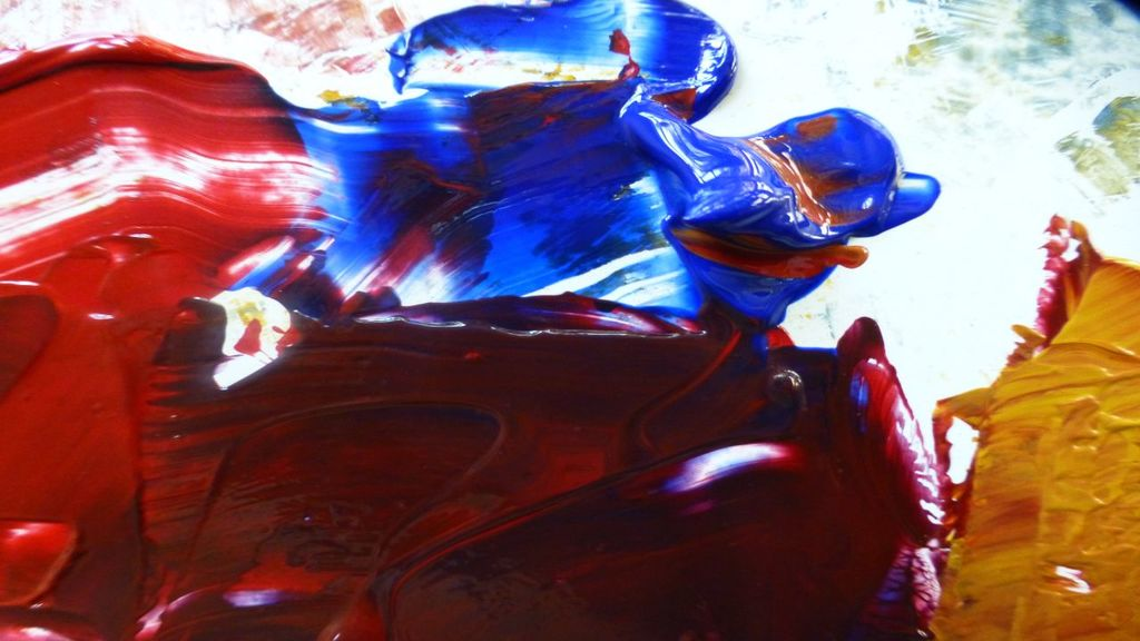 mix crimson, ultramarine and yellow-ochre