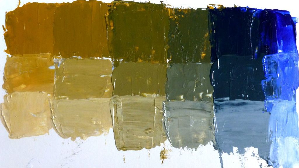 mix yellow-ochre-ultramarine-white