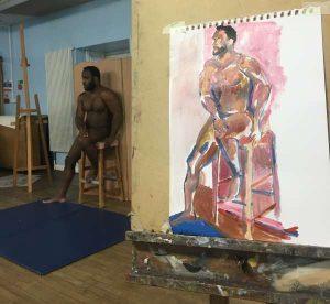 Life studio man on stool
