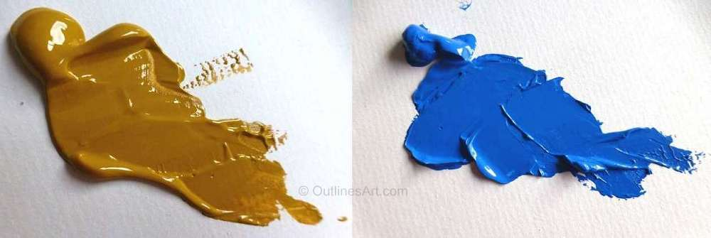 Yellow Ochre and Cerulean Blue