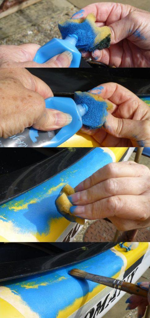 Painting blue using sponge and brush