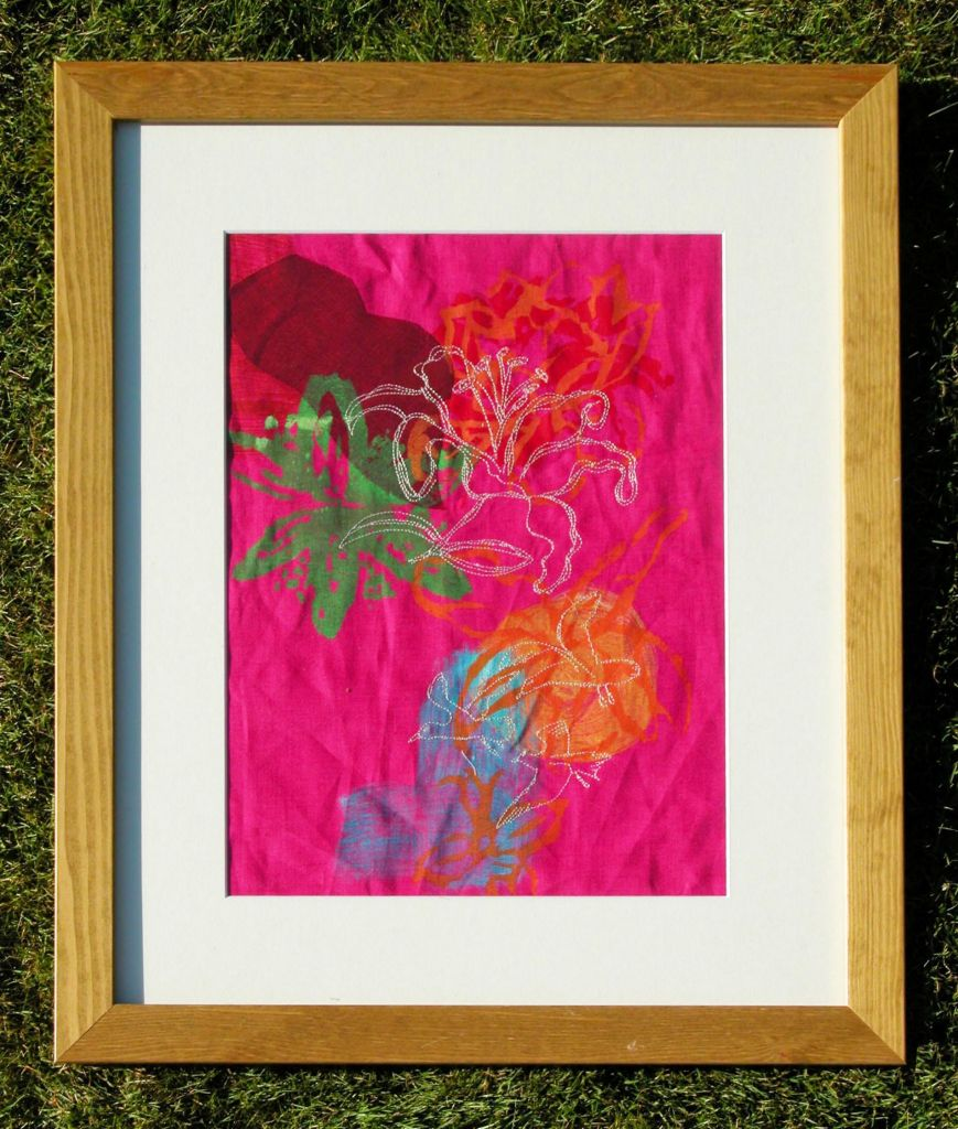 Framed Picture Pink fabric and Acrylics