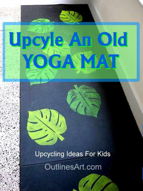 Upcycling Yoga mat Idea For Kids leafy printing